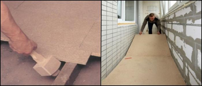 Укладка керамогранита на бетонный пол.