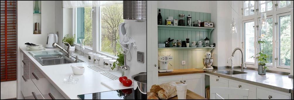 на кухне мойка возле окна фото