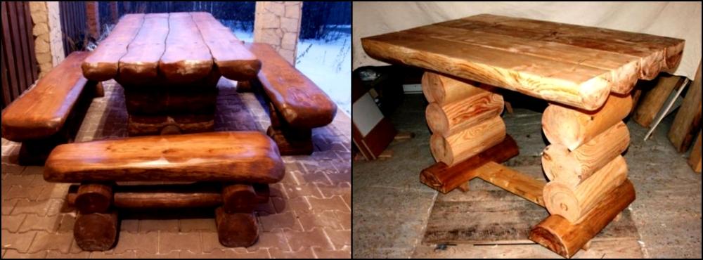 Своими руками стул стол из бревна